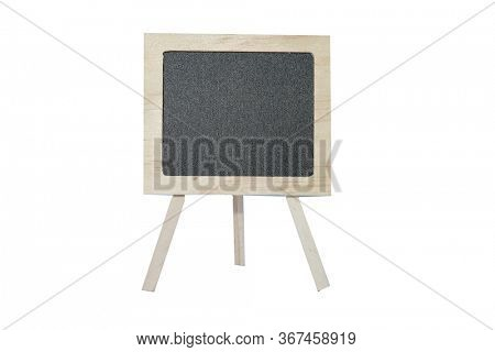 Black Chalk Board. Chalk board isolated on white. Room for text. Blank Chalk Board.