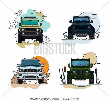 Off Road Set. Driving In Mountains. 4x4 Car. Editable Vector Illustration In Bright Colors. Explorat