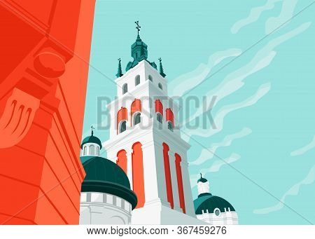 Old City Architecture With Cathedral Curch On Blue Sky Background