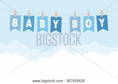 Baby Boy Welcome Greeting Card For Childbirth Vector Illustration Eps10