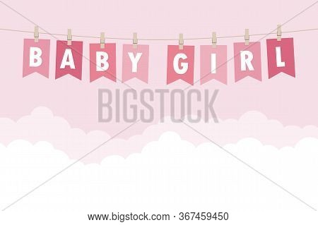 Baby Girl Welcome Greeting Card For Childbirth Vector Illustration Eps10