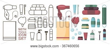 Set Of Bath Accessories And Products For Beauty In Flat Cartoon Style. Bath Upplies And Tools. Clean