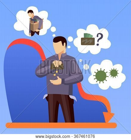 Money Shortage And Financial Problems Concept. Depressed Man Thinking About Money. Economic Crisis,