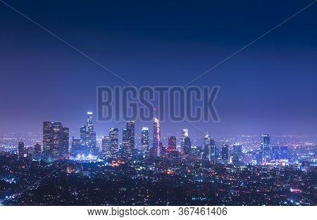 Los Angeles,california,usa,05-17-17: Los Angeles Skyline At Night.