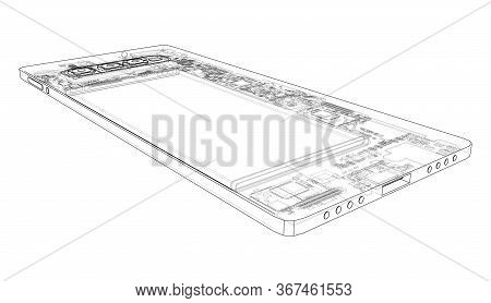 Smartphone Concept Outline. Vector Rendering Of 3d. Wire-frame Style. The Layers Of Visible And Invi