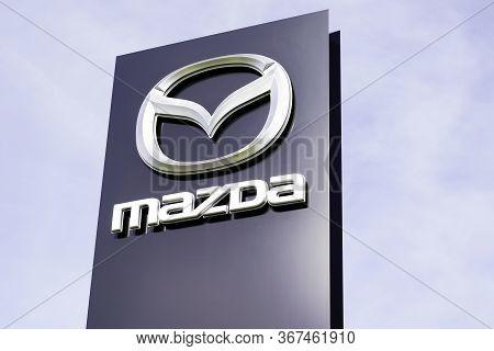 Bordeaux , Aquitaine / France - 10 02 2019 : Mazda Shop Corporation Car Dealership Sign Store Japane
