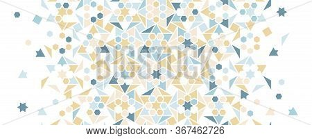 Pale Blue Arabesque Vector Seamless Background. Geometric Halftone Background With Color Arabesque T