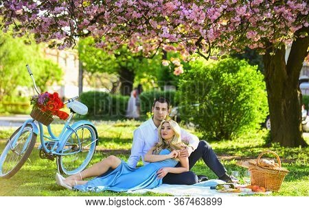 Perfect Spring Date. Man And Woman In Love. Picnic Time. Long Lasting Relationship. Couple Having Pi