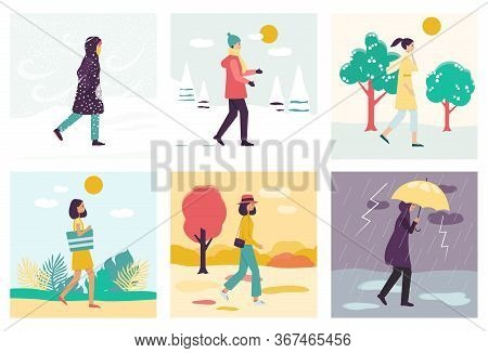 Set Of Women Or Girls And Four Seasons With Different Weather.