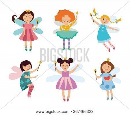 Set Of Cute Fairies Or Elves Girls Cartoon Flat Vector Illustration Isolated.