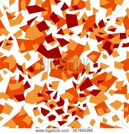 Seamless Background Of Randomly Placed Sharp Red And Orange Pieces. Small And Large Fragments. Vecto