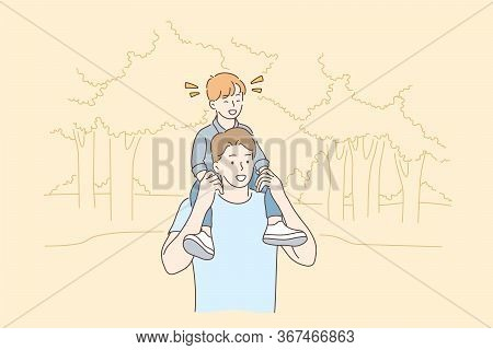 Childhood, Fatherhood, Support, Walking Concept. Cartoon Characters Young Man Father Carrying And Wa