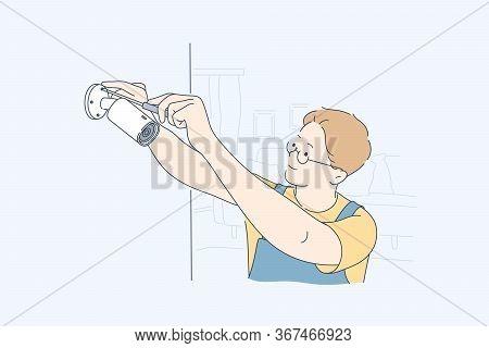 Installation, Service, Camera Concept. Man Boy Technician Worker Cartoon Character Repairing Or Sett