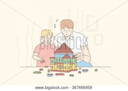 Childhood, Fatherhood, Game, Lego Concept. Cartoon Characters Happy Smiling Boy Kid Child Son And Yo