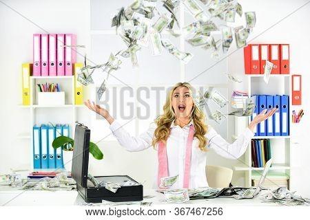 American Dollars. Lottery Winner. Unexpected Profit. Award. Cash Flow. Passive Income. Woman Enjoy M