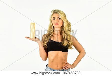 Girl With Smooth Skin Hold Cosmetics Bottle. Self Tanning. Beauty Routines. Auto Tanning Cream For F