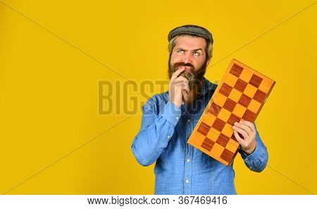 Man Playing Chess. Back To School. Chess Pieces And Board. Competition Success Play. Strategy, Manag