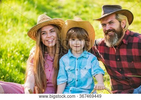 Happy Family Day. Mother Father And Cute Son. Family Farm. Parents And Little Baby. Spend Time Toget