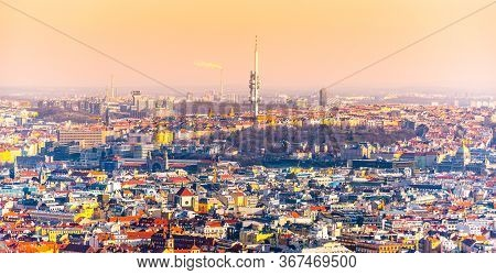 Prague Panoramic Cityscape With Zizkov Tower In The Middle. Praha, Czech Republic