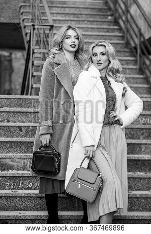 Glamour Models Look Luxuriously. Sexy Blong Women. Autumn Season. Modern Life. European Winter. Girl