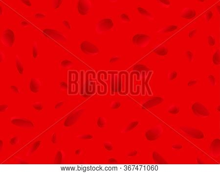 Red Blood Cells Seamless Pattern. Blood Clot Under The Microscope, Erythrocyte, Hemoglobin Molecules