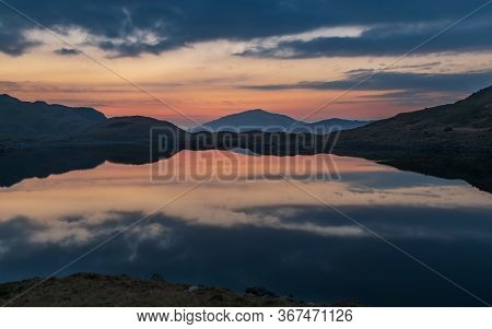 Sunrise On The Hills Of Snowdonia In Spring