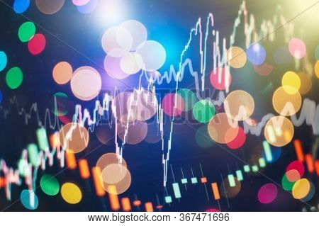 Abstract Financial Candlestick Chart With Line Graph And Stock Numbers, Financial Data On A Monitor