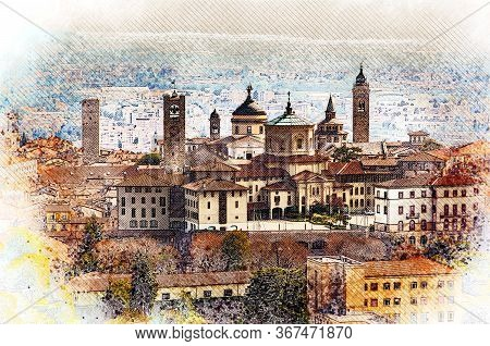 Panoramic view on Upper old city (Citta Alta) in Bergamo with historic buildings. Color pencil sketch illustration.