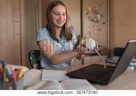 Teen Girl, Happy Smiling, Braces On Teeth, Rat Mouse In Hands, Plays With Animal, Shows Mouse Via Vi