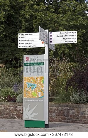 Bristol, Uk - August 12, 2015: A Sign Giving Directions To Various Departments Of The University Of