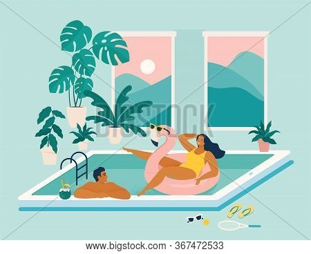 Couple Spend Summer Vacation At Swimming Pool During Quarantine. Stay At Home During Summer. Summer
