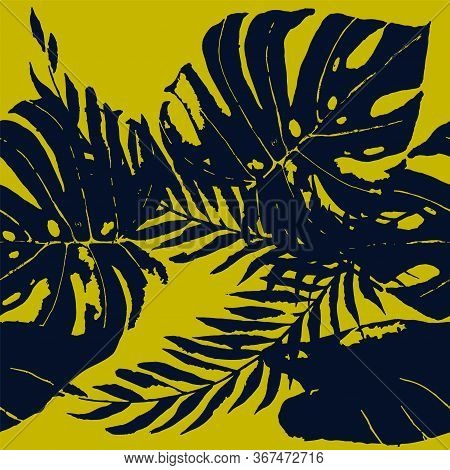 Blue Flower Hawaii Vector Seamless Pattern. Plant Fashion Illustration. Summer Banana Leaves Wallpap