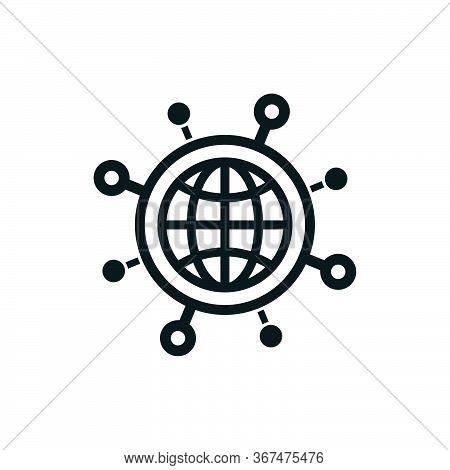 Novel Coronavirus Covid-19 Minimal Icon With World Map On White Background.