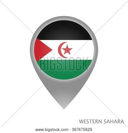 Map Pointer With Flag Of Sahrawi Arab Democratic Republic. Colorful Pointer Icon For Map. Vector Ill