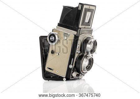 One Whole Light Vintage Camera Isolated On White Background