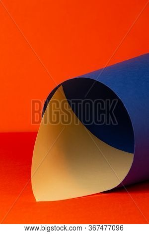 Abstract Geometric Background Using Orange, Blue, Yellow