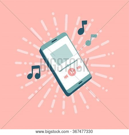 Online Music Player With Note Of Music. Playing Mobile Music. Cartoon Style Suitable For Web Landing