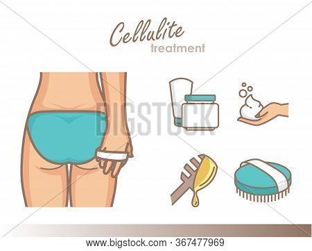 Cellulite Treatment. Dry Brush Massage, Anti-celullite Cream, Body Wraps. Femalle Ass Vector Illustr
