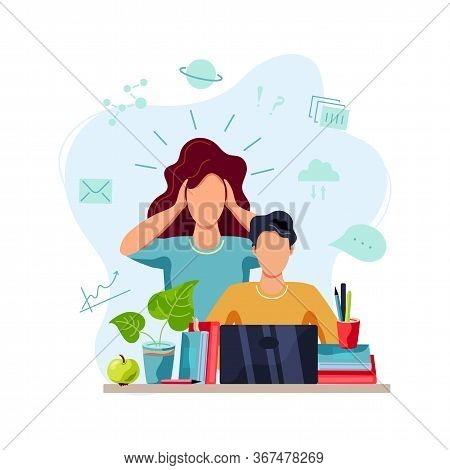 Home Learning, Home Schooling Concept. Mother Is Tired To Help Student Doing Homework. Vector Illust