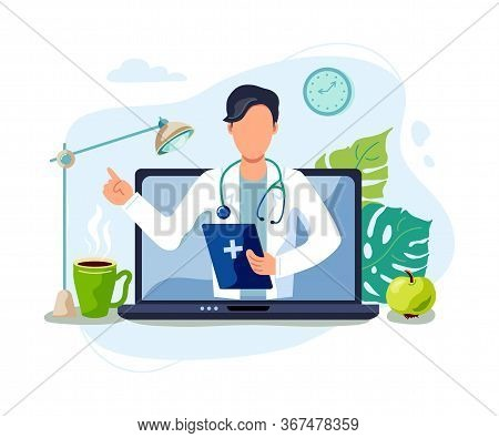 Tele Medicine, Online Doctor And Medical Consultation Concept. Doctor Helps A Patient On A Laptop. F