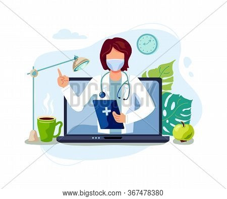 Tele Medicine, Online Doctor And Medical Consultation Concept. Female Doctor Helps A Patient On A La