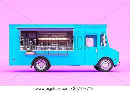 Blue Food Truck With Detailed Interior Isolated On Pastel Pink Background. Cozy Interior With Warm L