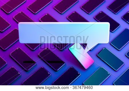 Blank Message Notification. Speech Bubble On Mobile Phone With Multicolored Screen. Online Communica