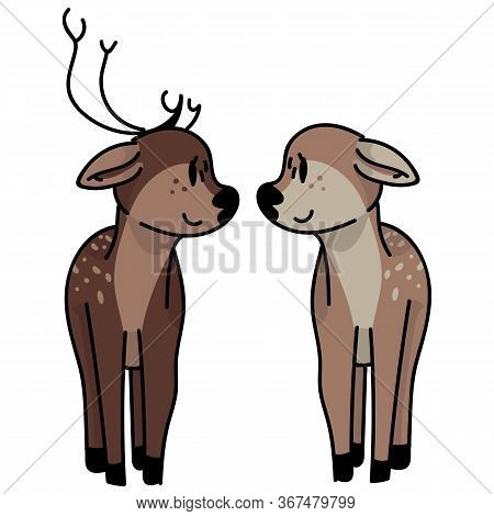 Kawaii Forest Doe And Stag Love Vector Illustration. Buck Deer With Antlers. Childlish Hand Drawn Do