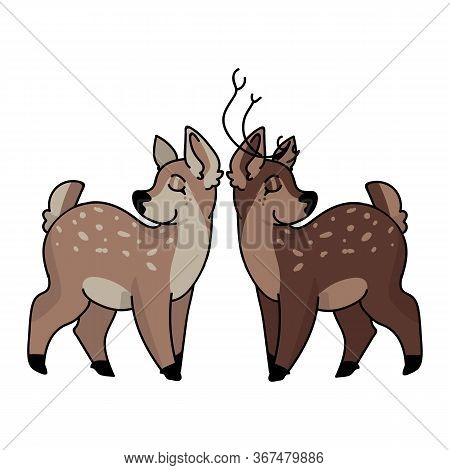 Kawaii Forest Doe And Buck Love Vector Illustration. Buck Deer With Antlers. Childlish Hand Drawn Do