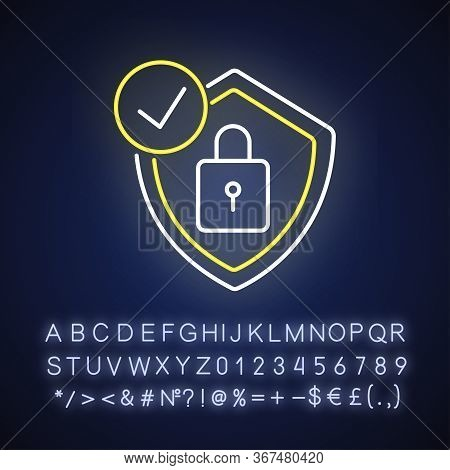 Antivirus Neon Light Icon. Digital Encryption. Personal Data Protection. Padlock And Shield. Outer G
