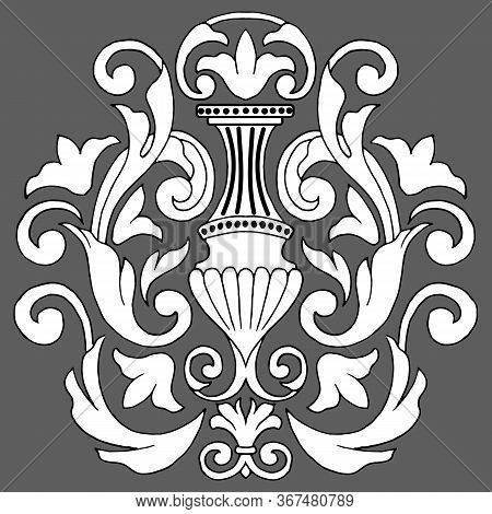Vintage Baroque Victorian  Monogram  Ornament ,  Pattern Decorative Design Tattoo Black And White Fi