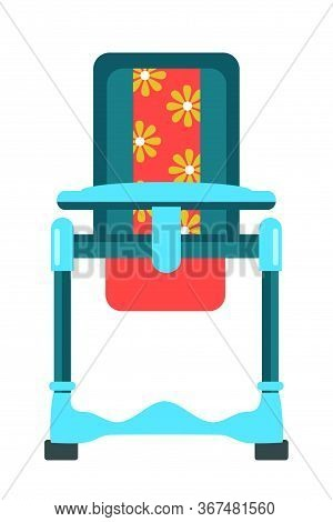 Feeding High Chair Flat Vector Illustration. Comfortable Seat For Little Babies With Tray. Movable H