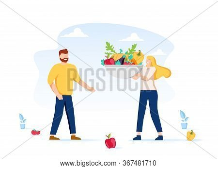 Healthy Eating, Cooking Vegetarian Food And Dieting Concept. Tiny People Eat Berries And Preparing F