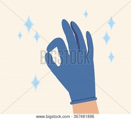 Hand In Blue Glove Ok Sign Isolated On White Background. Hands Putting On Protective Blue Glove And